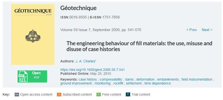 رفتار مهندسی مصالح خاکریز، مطالعات موردی استفاده های صحیح و غیر صحیح