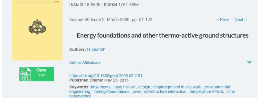 پی های انرژی و سایر سازه های سطحی حرارتی