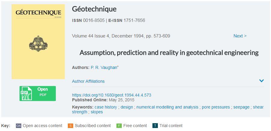 فرضیات، پیش بینی و واقعیت در مهندسی ژئوتکنیک