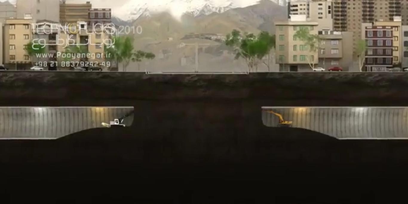 انیمیشن مراحل اجرای تونل نیایش